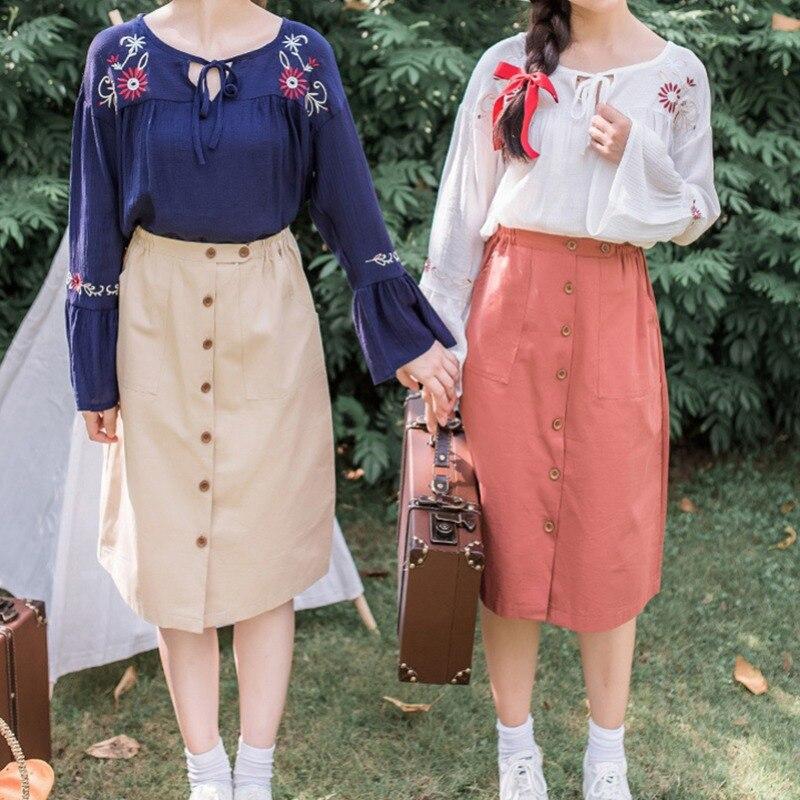 Fashion Harajuku Skirt Womens High Waist Solid Pleated Single Row Button Ladies Skirt Casual Elgant A Line Pockets Skirt Femme