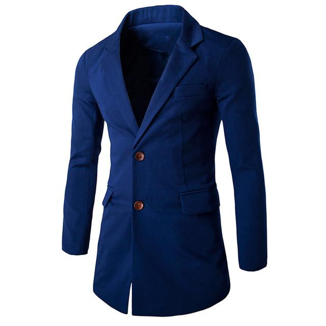 Homens Terno Blazer 2016 Marca Moda Turn Down Collar Casual Cor Sólida Outwear Único Breasted Longa Seção Slim Fit Blazer