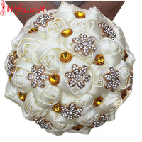 Big discount best quality ivory flowers wedding bouquets gold gem diamond bridal silk wedding decoration of.jpg 200x200