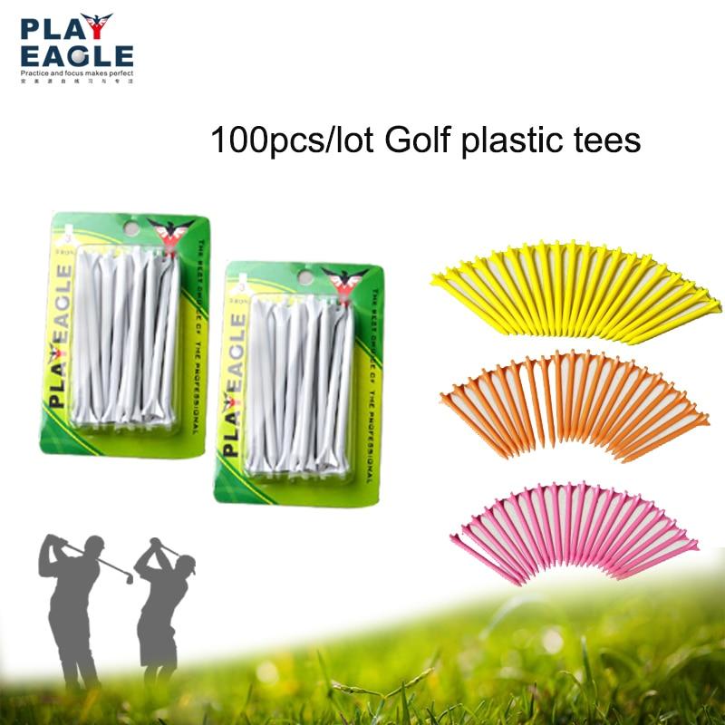 Prix pour Golf T-shirts 5 Packs/100 pcs Professionnel Zéro Friction ABS En Plastique T-shirts 70/80mm Accessoires De Golf