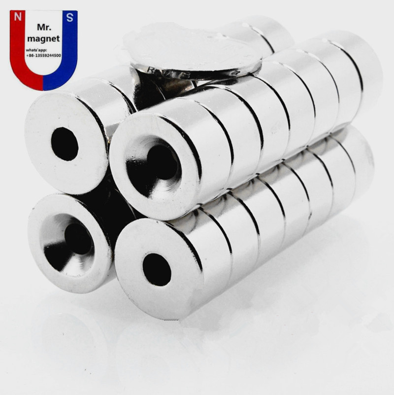 20pcs Super Strong Round Neodymium Countersunk Ring Magnets 20x10mm Hole 5mm Rare Earth N35 20x10 5mm magnet 20x10 5 in Magnetic Materials from Home Improvement
