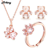 MoBuy Cute Bearfoot Natural Gemstone Pink Rose Quartz 100% 925 Sterling Silver 3pcs Jewelry Sets For Women Fine Jewelry V035 ENR