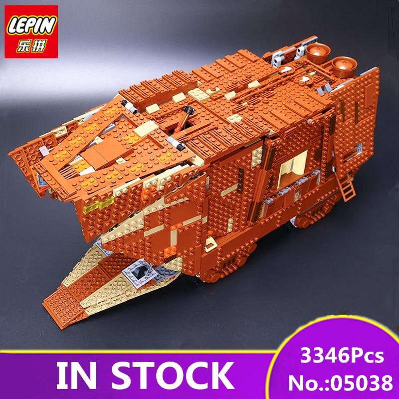 В наличии Лепин 05038 3346 шт. S Пробуждение силы Sandcrawler W Модель Строительство комплект блоки кирпич Совместимость 75059 детей игрушки
