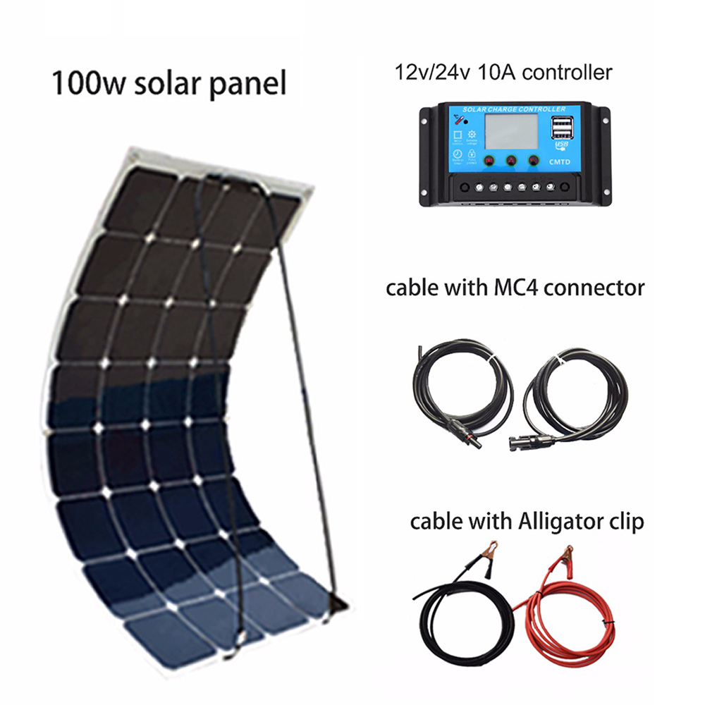 XINPUGUANG 100W DIY Solar System Kit 100W PV flexible solar panel 12v battery 10A controller MC4 connector RV/Boat Yard power 4pcs 100w flexible solar panel with mppt 30a controller and mc4 y connectors for 12v battery solar charger houseuse solar kit