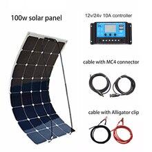 XINPUGUANG 100W DIY Solar System Kit 100W PV flexible solar panel 12v battery 10A controller MC4 connector RV/Boat Yard power