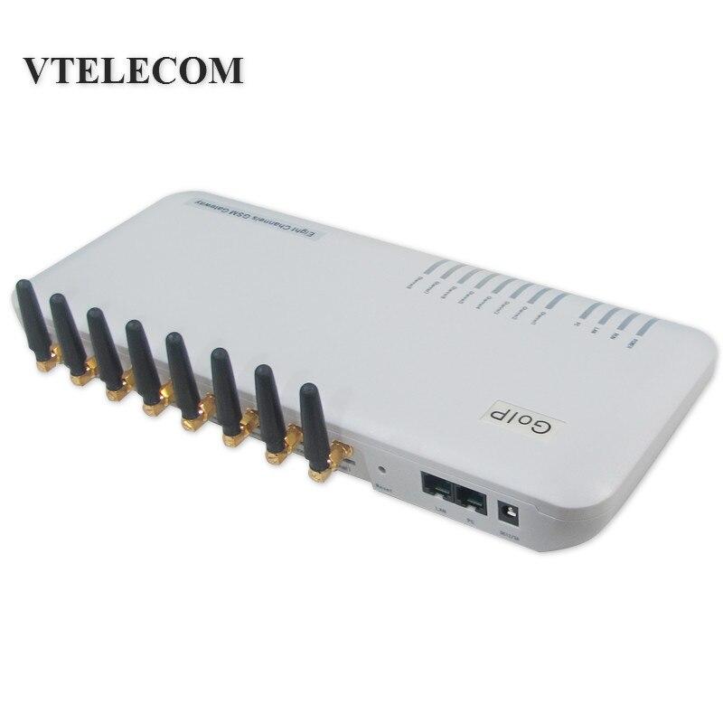Livraison gratuite passerelle VOIP GSM goip 8 quadri-bande 8 canaux prise en charge IMEI changement VPN SMS goip passerelle gsm pour IP PBX