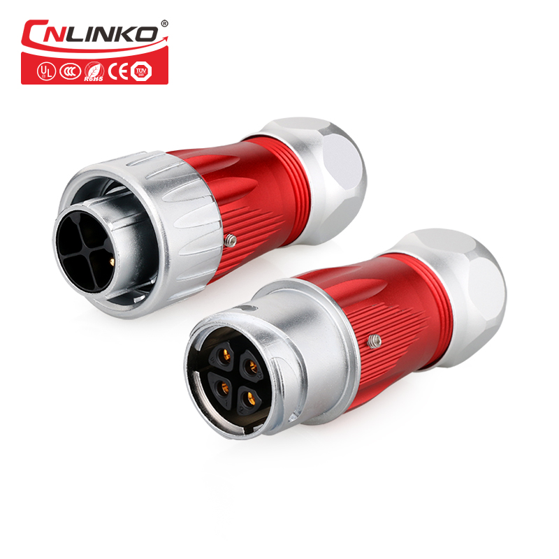 цены IP67 25A Waterproof Plug and Socket Cable Connector AC 4 Pin Circular Metal Industrial Power Connector