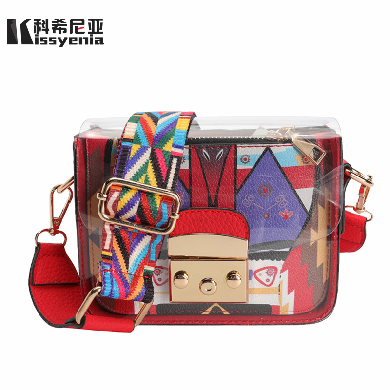 Kissyenia 2018 Luxury Brand Clear PVC Flap Bag Women Jelly Transparent Bags  PU Leather Summer Beach Bags Lady Clutch 2PCS KS1225-in Shoulder Bags from  ... a48c543df6277