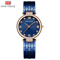 MINI FOCUS Women's Luxury Blue Watches Stainless Steel Bracelet Strap Waterproof Quartz Wristwatch Lady Woman Relogios 0186L