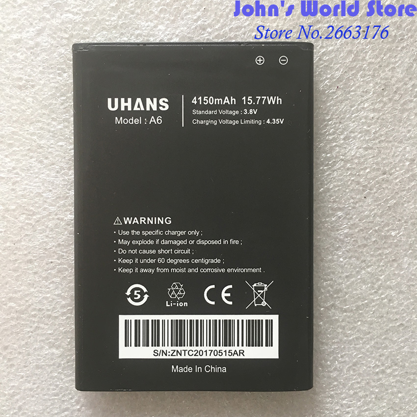 100% Original New For UHANS A6 Full 4150mAh Mobile Phone battery Smartphone Replacement Battery