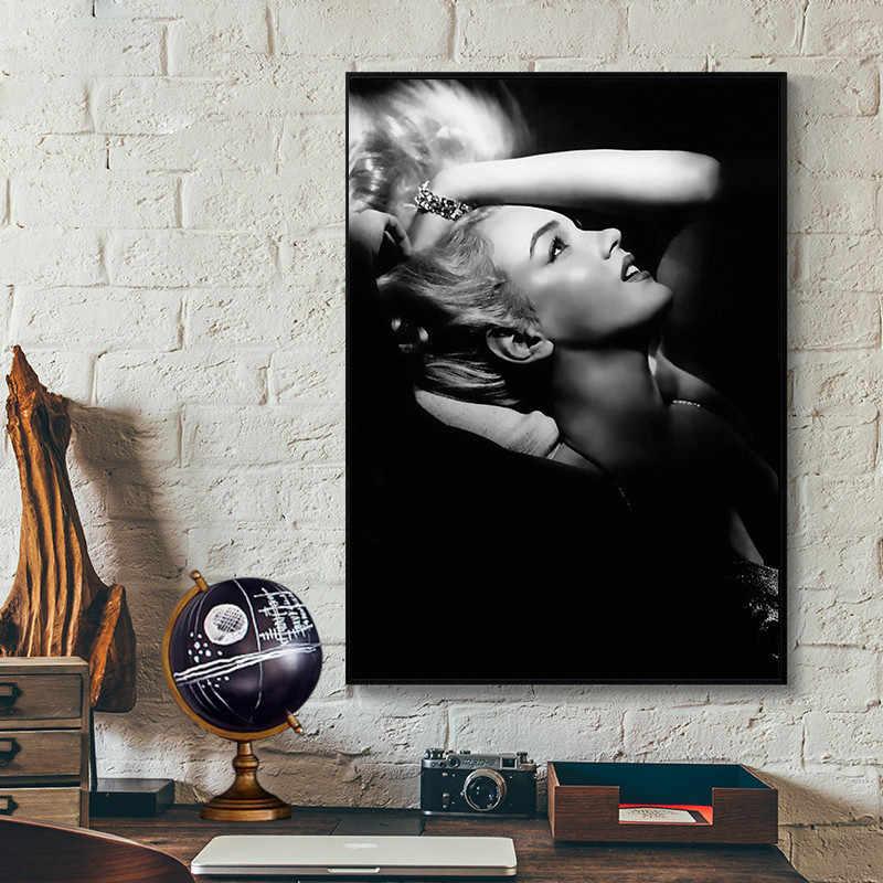 مارلين مونرو الشكل ديكور المنزل جدار الفن الشمال قماش اللوحة طباعة ملصق أسود أبيض فتاة نوم غرفة المعيشة الرجعية الصورة