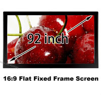 Made In China Cheapest Price 92 Inch Embowed Black Fixed Frame Projection Screen 3D Cinema Movie Projector Canvas 16:9