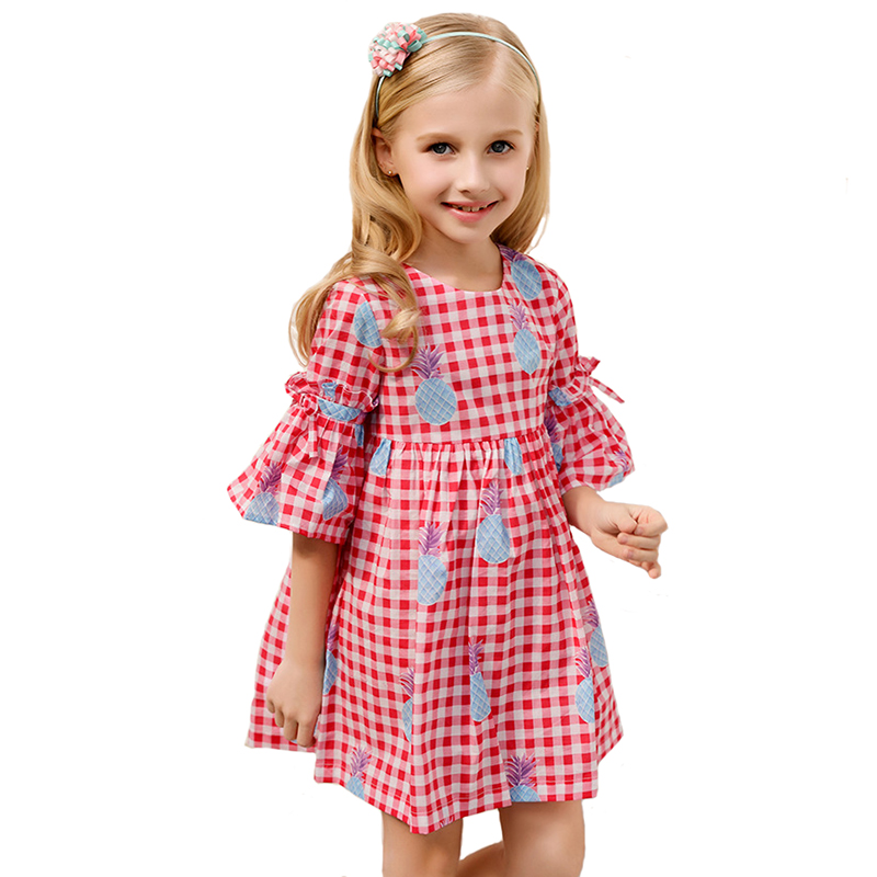 CANDYDOLL Summer Girls Plaid Dress Baby 100% Cotton Dresses Petal Sleeve Pineapple Print Costume for Children Clothing 3y-8y 2017 new summer beach printing fruit pineapple pattern printing design for baby girls dress children headband dresses clothing