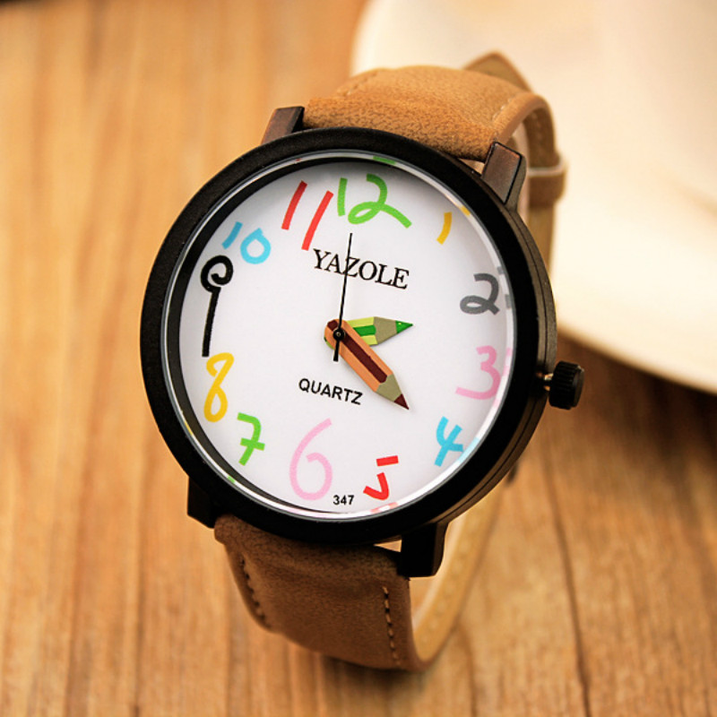 Fashion Creative Watch Women Famous Brand Pencil Pointer Large Dial Lovers Watch Female Student Quartz Watch Relogio Feminino