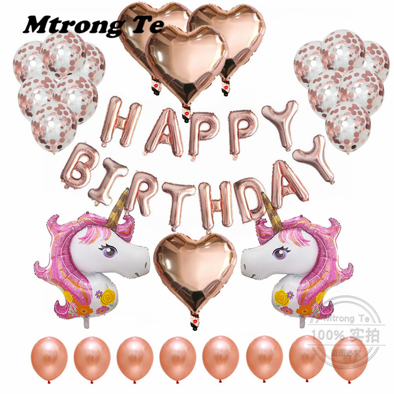 37pcs/Lot Unicorn Balloons 18 Heart Helium Foil Balloon Birthday Party Decor Supplies 12 Rose Gold Confetti Latex Air Globos