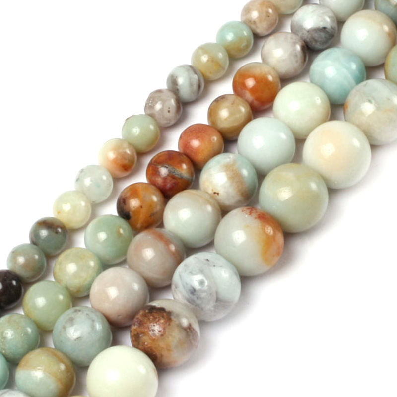 Gem-inside Natural Round Smooth Amazonite Stone Beads For Jewelry Making Beads 4-20mm 15inches DIY Jewellery Christmas Gift