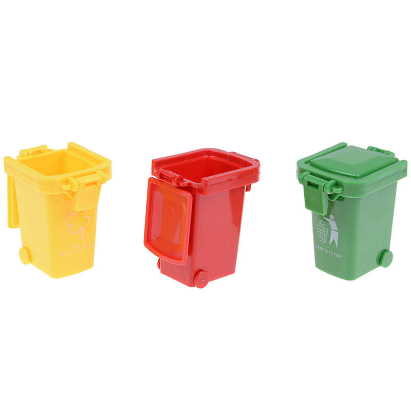 3 Buah/Bungkus Kreatif Mainan Tempat Sampah Mainan Truk Sampah Kaleng Mini Tepi Jalan Kendaraan Bin Mainan