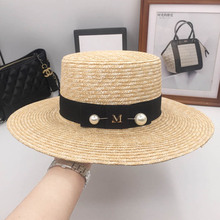 Spring, summer, a new straw brim hat flat big pearl M standard sunhat sunscreen hat hats for men and women fashion