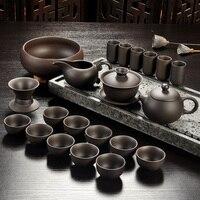 Yixing Lila sand tee set schwarz/rot keramik kung fu Teekanne  handmade Lila sand teekanne teacup gaiwan Terrine tee zeremonie-in Teegeschirr-Sets aus Heim und Garten bei