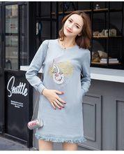 50e6c7ae4 Maternidad sudadera estilo azul cielo borla ropa embarazada vestido con  bordado para embarazadas 2018 Otoño Invierno