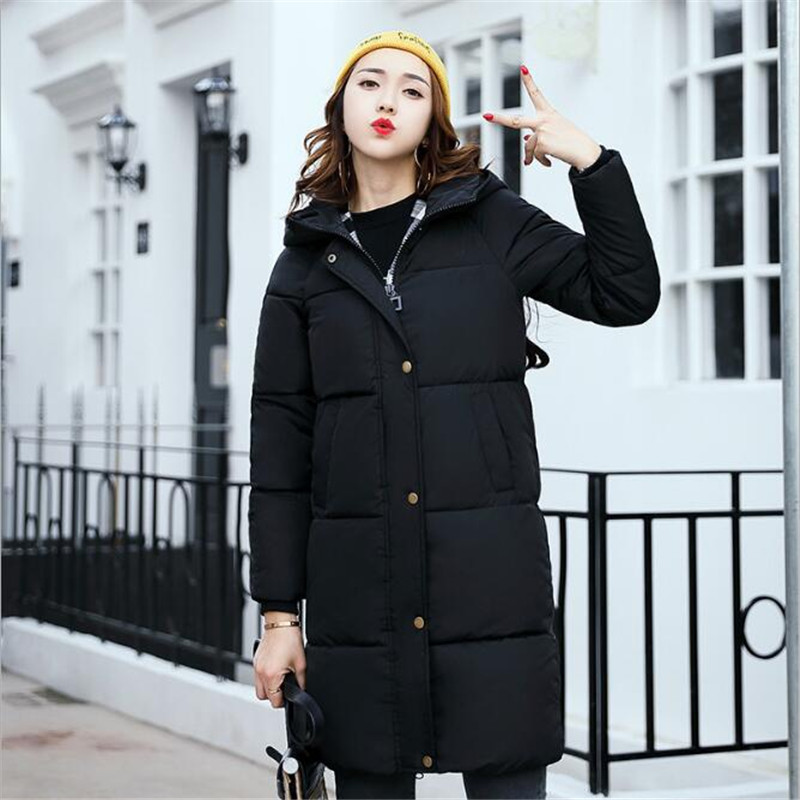 casual cotton long section of the Korean Slim coat 2017 autumn and winter new cotton women thickening large warm coat 2016 autumn winter women s casual fashion not as long as before and after long section side seam zipper bags seven snowflakes