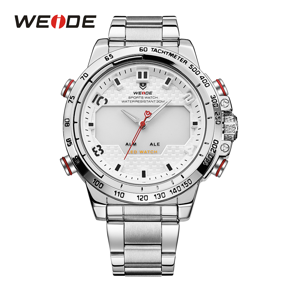 WEIDE Watches Mens LED Analog Alarm Date Back Light Sports Military Watch Big Dial Stainless Steel Strap Quartz Watch weide watches men luxury sports lcd digital alarm military watch nylon strap big dial 3atm analog led display men s quartz watch