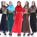 2016 o mais recente Primavera Manga Longa Crochê Chiffon Dubai Vestido Dos Muçulmanos Vestidos de Vestes mulheres Islâmicas Roupas
