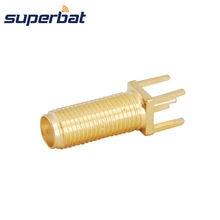 Superbat 10pcs Long Version 50 Ohm SMA Female Jack Connector Straight Thru Hole Vertical PCB Mount 22mm Length 15mm Thread