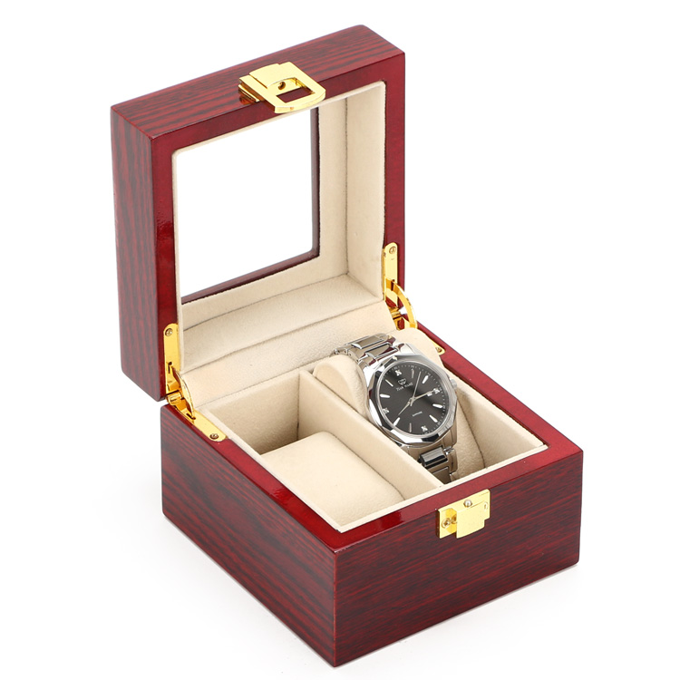 2 Grids Display Watch Box High Quanlity Red Piano Paint Watch Storage Box Fashion MDF Watch Gift Box D014  doorfix d014