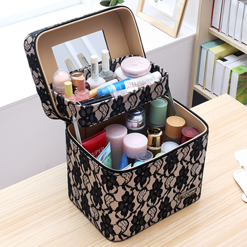 Lovely Travel Cosmetic Cases Storage Box Lady Simple Large Capacity Portable Travel Double Deck Hand-held Fashion Classic