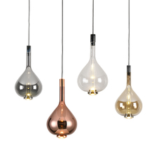 Post Modern Simple Glass Pendant lights Living room Bedroom Study room Pendant lamps Personality Creative Bedside LED Droplight modern simple staircase pendant lamp led bubble column living room long pendant lamps rotating villa suction crystal pillar post