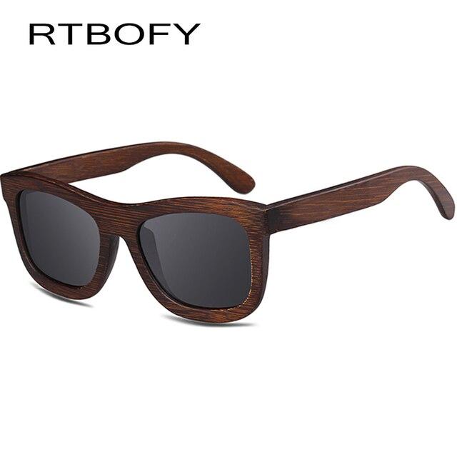 dc8a9e4d87 Rtbofy madera Gafas de sol hombres y mujeres polarizadas Objetivos Gafas  bambú Marcos diseño vintage Shades
