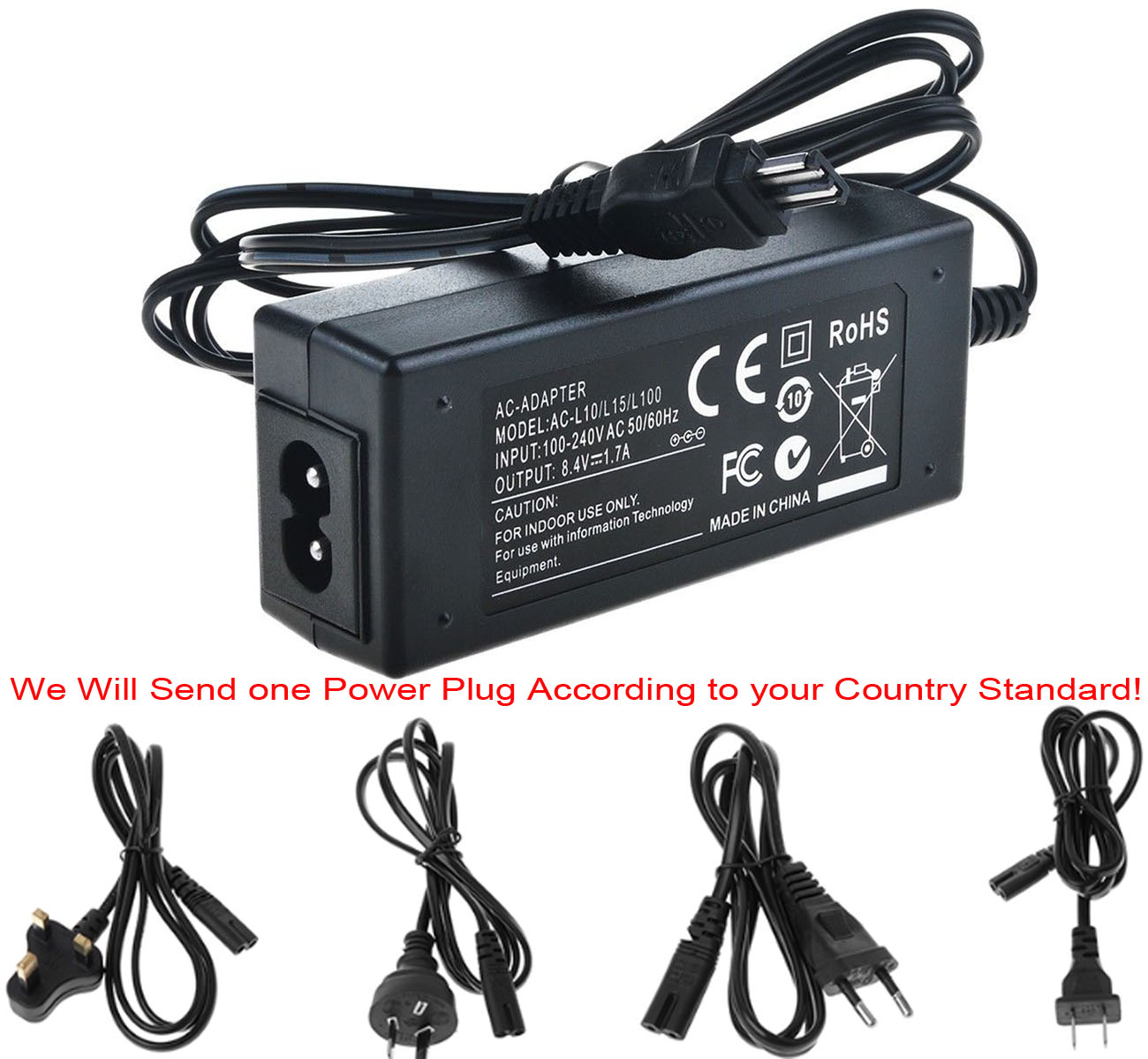 AC Power Adapter Charger For Sony AC-L10, AC-L10A, AC-L10B, AC-L10C, AC-L15, AC-L15A, AC-L15B, AC-L15C, AC-L100, AC-L100C