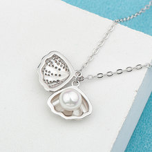 Real sterling silver 925 shell necklace in jewelry pendant with cubic zirconia chain fashion for women