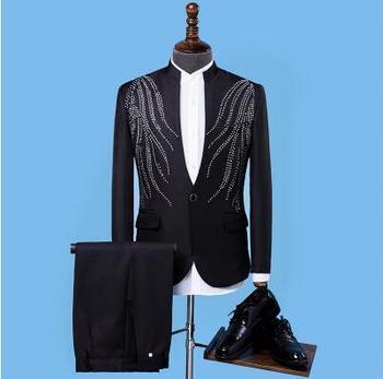 Trajes Blancos Para Hombres | Negro Blanco Azul Rojo Más Tamaño Chaqueta Pantalones Plata Diamantes De Imitación Slim Hombres Traje Conjunto Boda Host Abrigo Hombres Cantante Bar Traje
