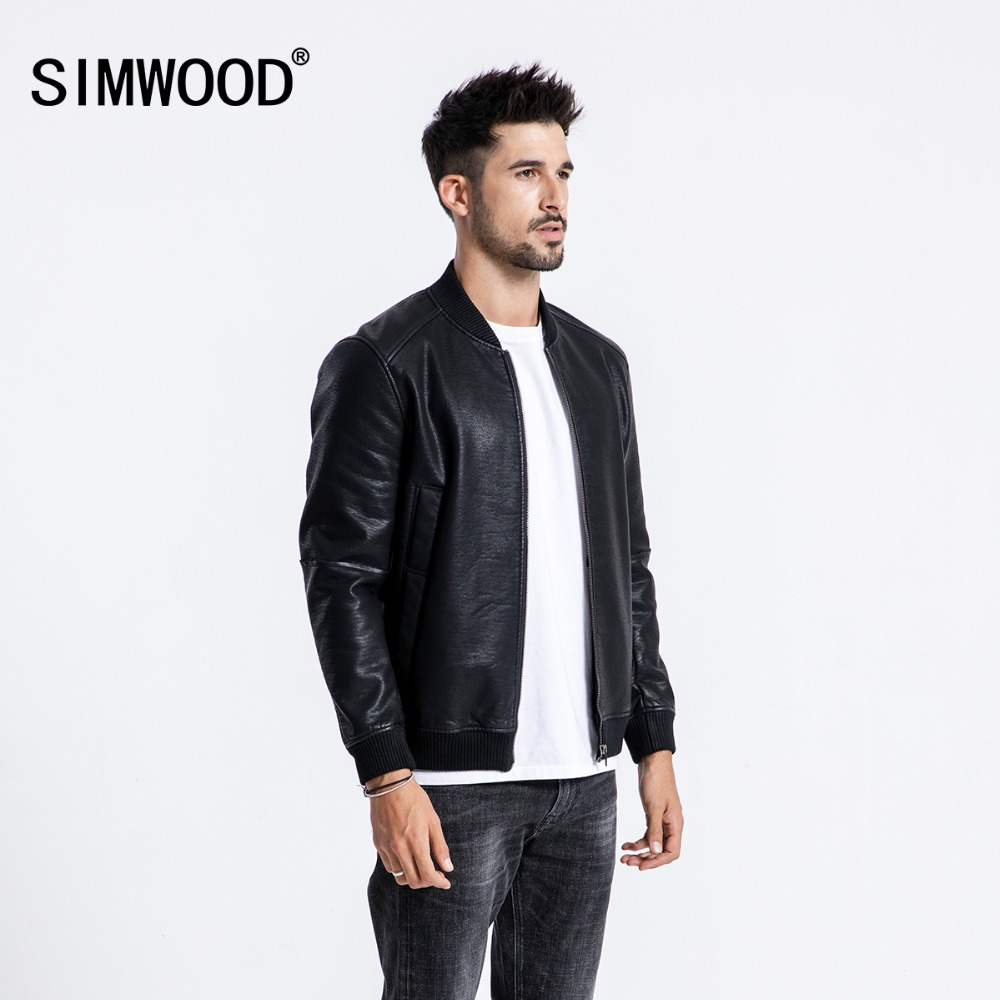 SIMWOOD Winter New Bomber Leather Jacket Men Fashion Warm Fleece Casual Outerwear Classical Coats High Quality Clothes  180558