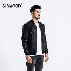 SIMWOOD Winter Nieuwe Bomber Leren Jas Mannen Mode Warme Fleece Toevallige Bovenkleding Klassieke Jassen Hoge Kwaliteit Kleding 180558