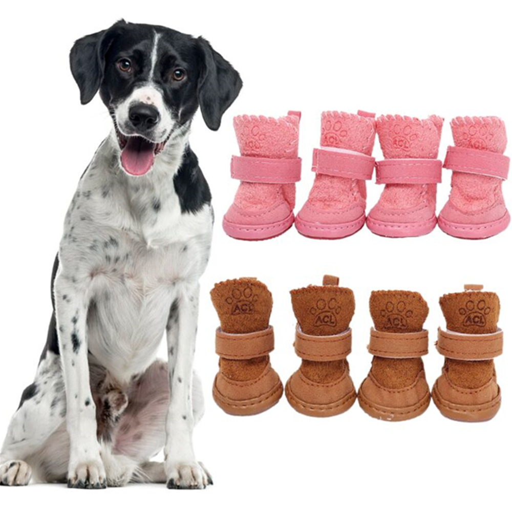 New 4Pcs/set Thick Snow Dog Shoes Pet Chihuahua Animal Warming Cotton Sneakers Plush Winter Puppy Cats Warm Boots Pet Supplies
