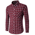 Men Plaid Oxford Large Size Long Sleeve Casual Shirts Slim Business Menswear Form-fitting Cardigan Camisa Social Masculina XXXL