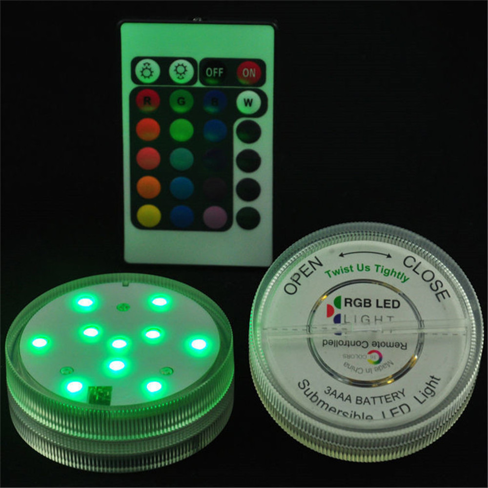 KITOSUN Round Submersible LED Lights with Remote Waterproof LED Accent Light 2.8inch Rou ...