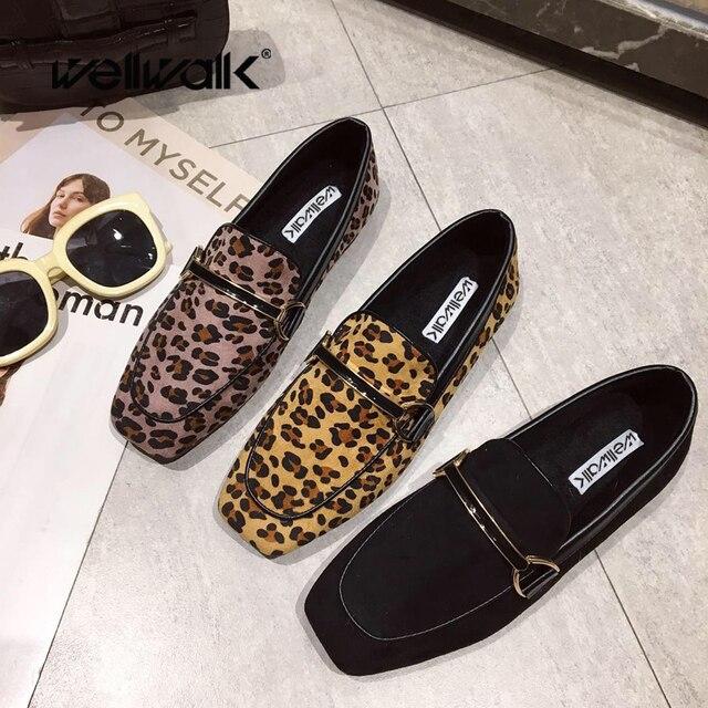 Wellwalk/черные туфли на плоской подошве, женские леопардовые туфли, женские балетки, женские лоферы на плоской подошве, женские мокасины, туфли дерби