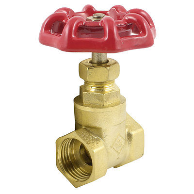 Gold Tone Solid Brass Red Lever Handle Gate Valve 1/2 PT 1 2 pt male thread to 12mm hose barb plastic cover lever ball valve brass tone discount 50
