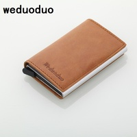 Weduoduo Men Blocking Rfid Wallet Mini Genuine Leather Business Aluminium Credit Card Holder Purse Automatic Pop