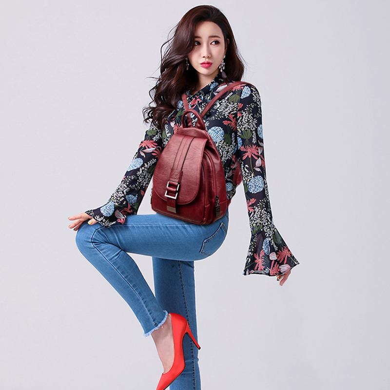 HTB1n8WZnbuWBuNjSszgq6z8jVXa6 2019 Women Leather Backpacks Vintage Female Shoulder Bag Sac a Dos Travel Ladies Bagpack Mochilas School Bags For Girls Preppy