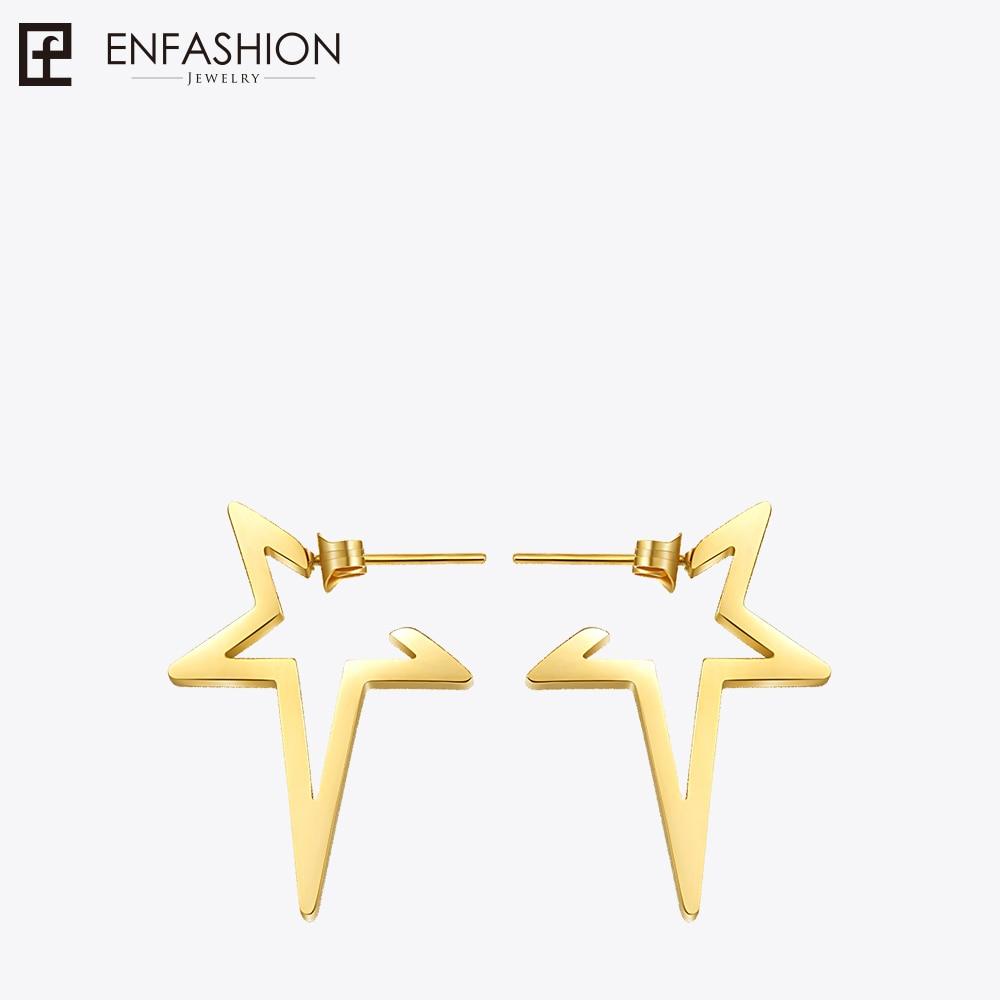 Enfashion Star Earrings Punk Stud Earring Rose Gold Color Earings Stainless Steel Earrings For Women Jewelry Wholesale enfashion wholesale geometric triangle ear jacket earrings stud earring gold color earings stainless steel earrings for women