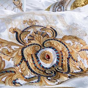 Image 4 - 800TC 4/6/10Pcs Satin Cotton Luxury Royal Bedding Set King Queen size Duvet cover Bed sheet set Wedding Bedspread Pillow shams