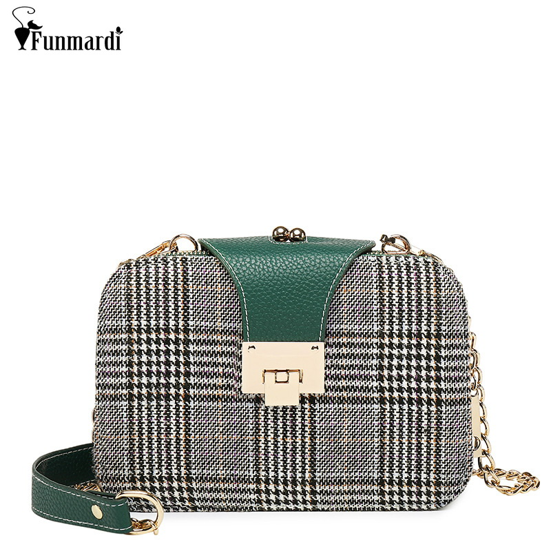 FUNMARDI New Design Contrast Color Women Chain Bag Fashion Plaid Crossbody Bags PU Leather Bag For Womens Shoulder Bag WLHB3019FUNMARDI New Design Contrast Color Women Chain Bag Fashion Plaid Crossbody Bags PU Leather Bag For Womens Shoulder Bag WLHB3019
