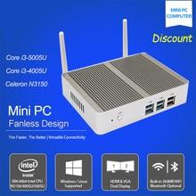 Hot sale Intel Core i3 5005u 12V Fanless i3 Mini PC X86 Win10 Barebone mini Desktop Computers Linux Server WiFi VGA