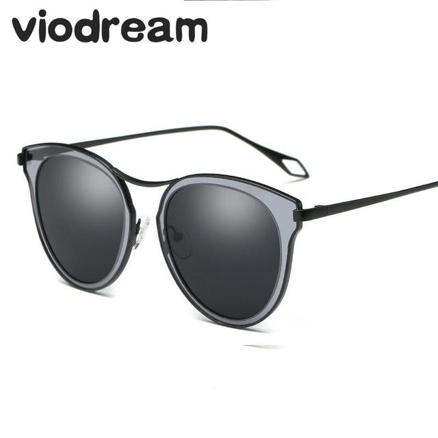 Viodream Polaroid Cat Eye Sunglasses Transparent Round Frame Colorful Fashion Women Sun glasses oculos de sol