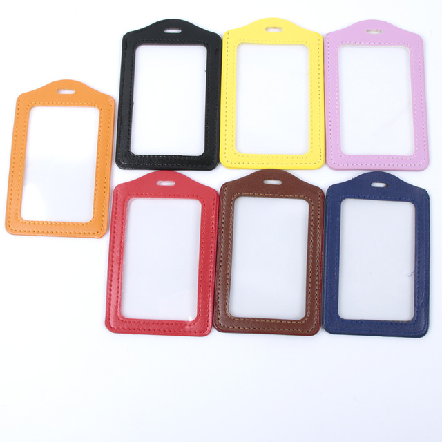 PU Leather ID Badge Case Clear and Color Border Lanyard Holes Bank Credit Card & ID Holders ID Badge Holders Accessories Passport & ID Holders